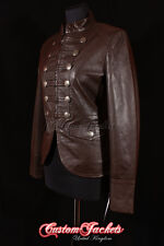 Ladies MILITARY PARADE Leather Jacket Brown Waxed Designer Studded Rock Jacket