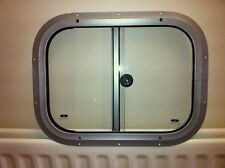 Horsebox Window 396mm x 299mm Side Slider Silver Powder (IWT Window)