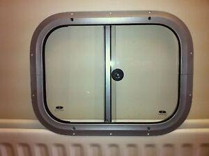 Horsebox Window 396mm x 299mm Side Slider Silver Powder (IWT Window)