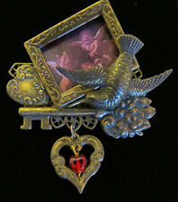 Romantic Humming Bird Heart Key Brooch Antiqued Brass