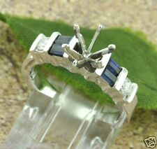 0.38 ct 14k Solid White Gold Sapphire Diamond Ring setting Semi Mount Baguette