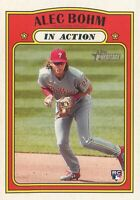 Alec Bohm RC 2021 Topps Heritage Baseball In Action Rookie Card #12 PHI Phillies