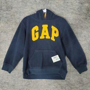 Gap Fleece Sweatshirt Boys 5T Hoodie Navy Kangaroo Pocket Yellow Appliqued Logo