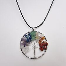 Seven Chakra Crystal Tree of Life Necklace, Natural 7-Stone Reiki Wire Wrap