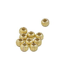 Gold Filled Corrugated Round Small Spacer Beads 4mm Pack of 10 (L60/10)