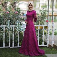 Fashion Women Lace Long Dress Muslim Dubai Lady Abaya Robe Islamic Maxi Kaftan