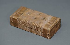 19c. French Trompe l'oeil Wood Carving Wooden Suitcase Trunk Sewing Tools Box