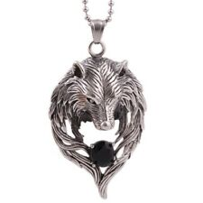 Men's Vintage Wolf Head Wing Stainless Steel Rhinestone Pendant Necklace