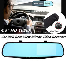"4.3"" 1080P Car DVR Rearview Mirror Video Recorder Dual Cam Reversing Camera HDMI"