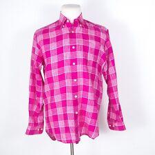 Robert Talbott Check/Plaid Button Shirt 100% Linen Pink M