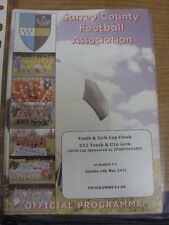 06/05/2012 Football Programme: Surrey County Youth And Girls Cup Finals - U12 Yo