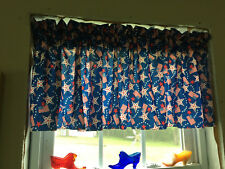 100% Cotton 4Th Of July Red White Blue Flag Stars Full Curtain Valance