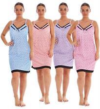 Ladies Nightwear 100% Cotton Strap Lace Polka Dot Melange Print Short Nightdress