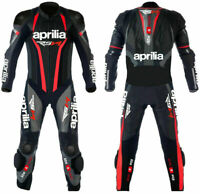 """Aprilia"""" Motorbike Racing Leather Suit Ce Approved Black Silver Rsv4 XS To 5XL"""