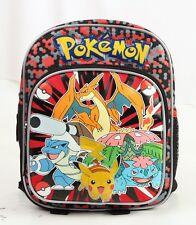 """Pokemon Go Pikachu Small Backpack 10"""" adjustable shoulder straps + bottle holder"""