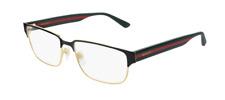 Gucci GG 0753O 001 Black Gold/Green Rectangle Unisex Eyeglasses