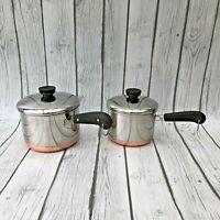 VTG Revere Ware Copper Bottom Sauce Pans 1 Quart and 1.5 qt with lids 4pc Set