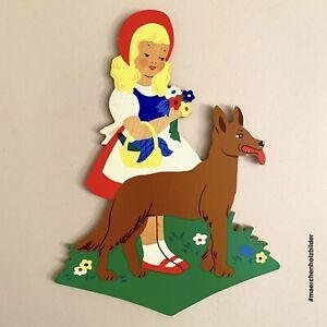 Märchen-Holzbild ALT 1970er 20cm Rotkäppchen mit Wolf Wand-Figur Wiese Vintage