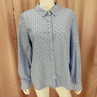 Tommy Hilfiger Women's Blue Dotted Long Sleeve Button Up Shirt Extra Large XL