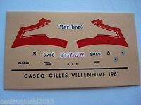 DECALS KIT 1/12 HELMET CASCO GILLES VILLENEUVE FERRARI F1