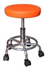 TABOURET orange à roulettes télescopique hauteur réglable pivotant bureau VIALA