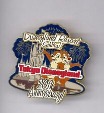 Disney Disneyland Salutes 20th Tokyo Resort Castle Fireworks Chip & Dale LE Pin