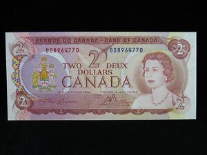 1974 $2 Bank of Canada Banknote BD 8964770 Lawson Bouey AU-UNC Grade Bill