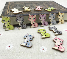 100pcs Wood Buttons Cartoon Cat Fit sewing scrapbooking Wooden crafts 27mm