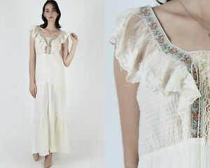 Vtg 70s Floral Embroidered Lace Dress Ivory Country Prairie Smocked Corset Maxi