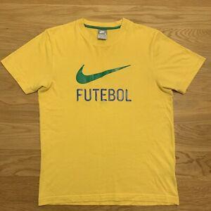 Nike 00s Football T Shirt Yellow Size Medium Brasil