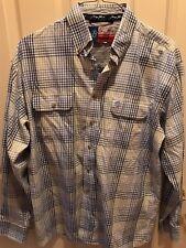 George Straight Wrangler Plaid Shirt Long Sleeve L Purple White Green