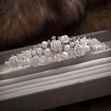 Gorgeous Ceramic Flower Ivory Pearl Crystal Wedding Crown Tiara Bridal Headband