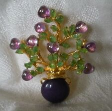 SWOBODA FLOWER VASE PIN BROOCH ~ AMETHYST, PURPLE HOWLITE, PERIDOT ~ GORGEOUS!