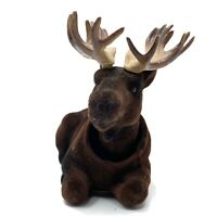 Vtg Velvet Dashboard Bobblehead Deer Stag Buck Antlers Glass Eyes