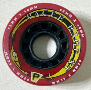 Roller Skating Skate Wheels- Pacer Rage XT -1 WHEEL ONLY- 62x40mm, Dark Red -New