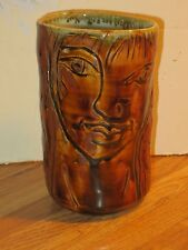 Mike Norman Studio Pottery Tumbler With Abstract Incised Figures, Marked