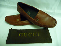 GUCCI Womens Loafers Driving Shoes Sz 39 8 Red Leather Metal Logo Italy Qardaha