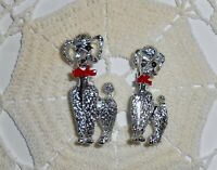Vintage Pair of Cute Poodle Scatter Pins Brooch Silver-tone with Red Enamel Bow