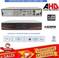 DVR 4 CANALI AHD H264 HDMI CLOUD VIDEOSORVEGLIANZA IBRIDO VIDEOREGISTRATORE TVCC