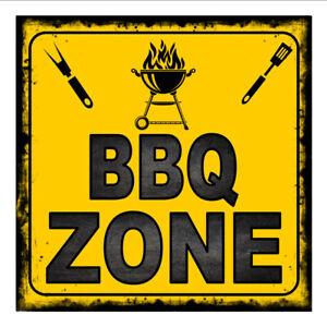 """/""""BBQ ZONE/"""" 12/""""  METAL BOTTLE CAP SIGN-Baked Ink Outdoor//Indoor   U34"""