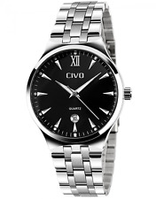 CIVO Mens Luxury Stainless Steel Band Business Casual Wrist Watches Men's Analog