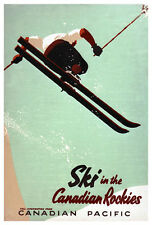 SKI IN THE CANADIAN ROCKIES Vintage 1940s Skiing Travel Poster Reprint