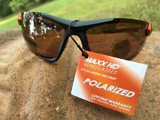 Maxx HD Sunglasses Blitz HDP black orange golf fishing polarized brown lens LT