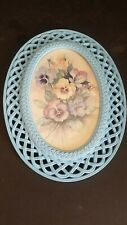 Vintage Homco #2384 Fran Anderson Pansy Print in an Oval Lattice Frame