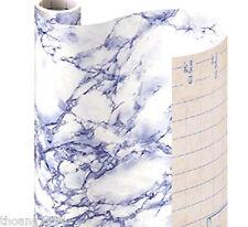 Blue Grey Marble Self Adhesive Vinyl Contact Paper Shelf Drawer Liner Peel Stick