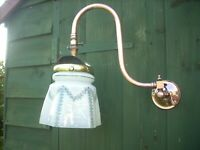 victorian gas lamp swan neck wall sconce converted to electricity