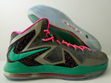"NIKE LEBRON 10 X iD ""SOUTH BEACH - MIAMI"" GREY-HOT PINK-TEAL SZ 16 [616116-991]"