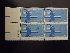 """1957 #C49 6c Air Force 50th Anniversary Plate Block MNH OG """"Includes New Mount"""""""