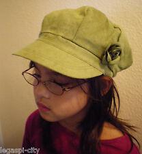 Designer-Mütze/Kappe für Mädchen in Velourlederoptik von Romano Italy khaki