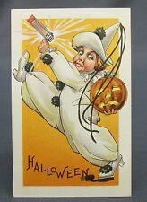 Antique Halloween Postcard Grinning Clown Marching with Noisemaker & JOL Pumpkin